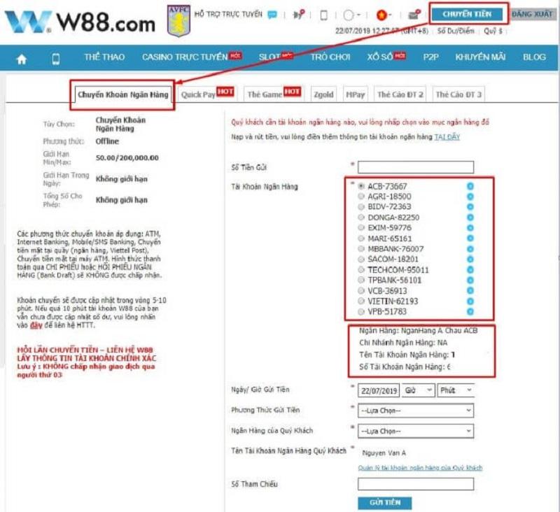 Gửi tiền bằng dịch vụ Internet Banking
