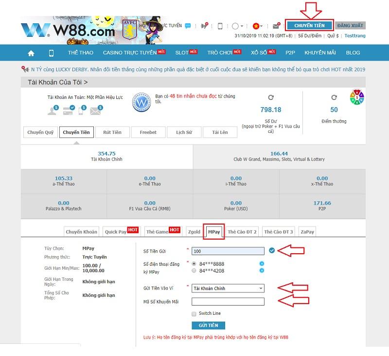 Hướng dẫn nạp tiền W88 sử dụng mã QR MoMo cho máy tính