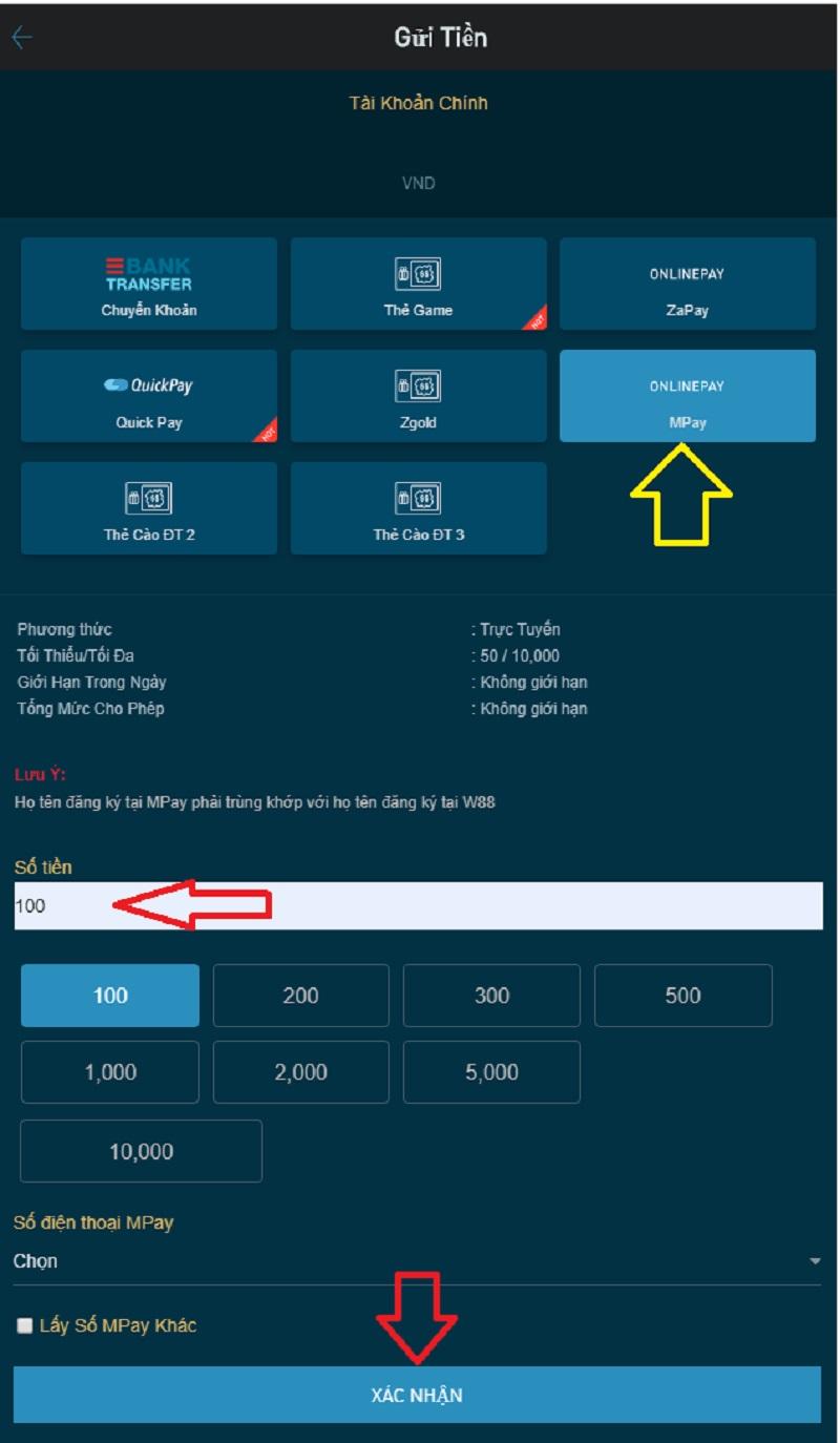Hướng dẫn sử dụng mã QR MoMo để nạp tiền W88 cho mobile