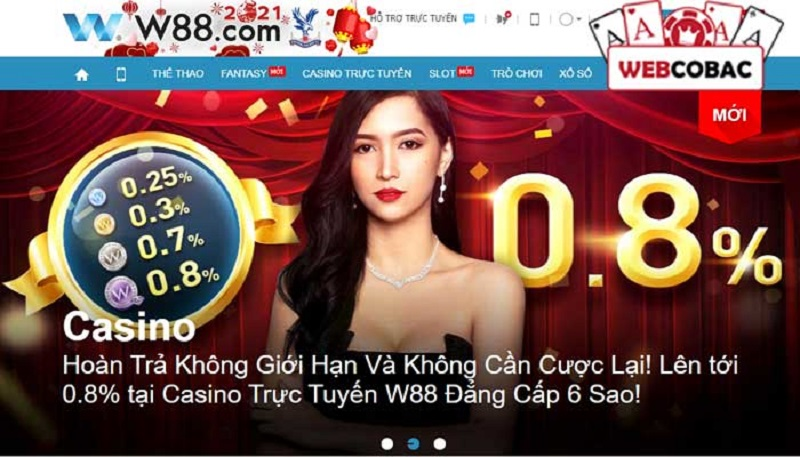 Khuyến mãi tại Casino online W88 nhiều vô kể