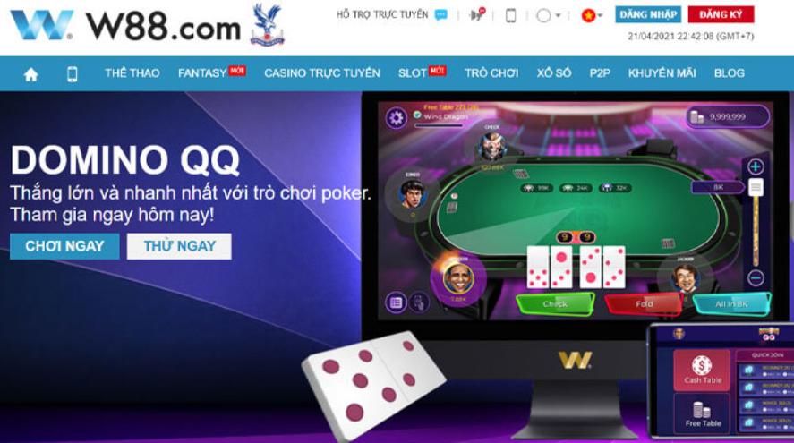 Domino QQ tại nhà cái W88 sở hữu nhiều ưu điểm vượt trội
